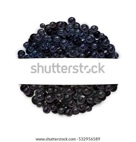 vector black caviar with blank