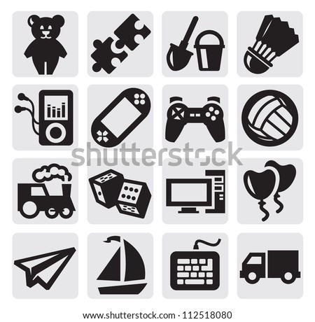 vector black children's toys icon set on gray