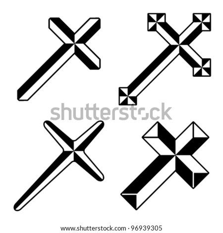 vector black christian crosses