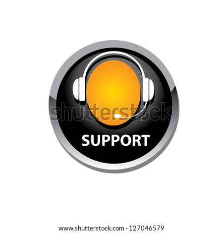 vector black circle glossy web support icon on white background. vector web assistant button.