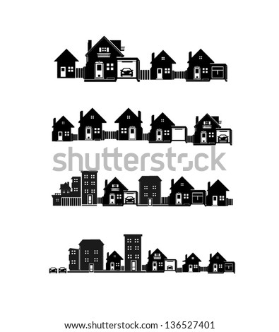 vector black city icons set 2