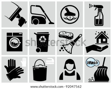 Vector black cleaning icons set.