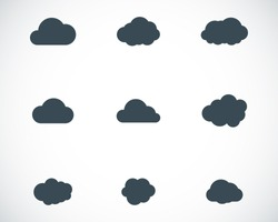 Vector black cloud icons set