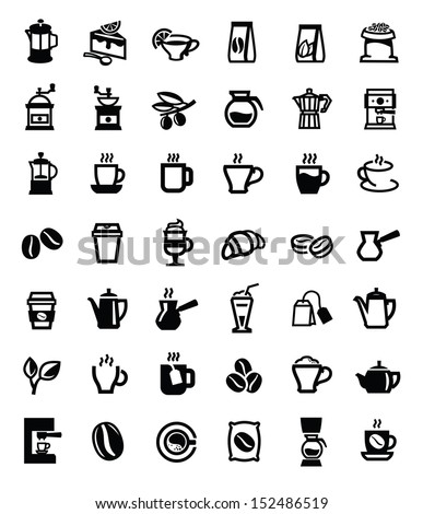 vector black coffee and tea icons set on white