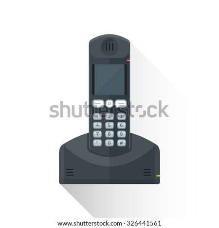 vector black color flat design reliance wireless landline phone buttons illustration isolated white background long shadow