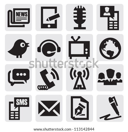 vector black communication icons set on gary