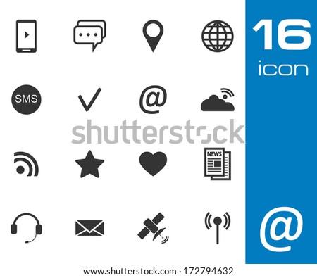 Vector black Communication icons set on white background. #172794632