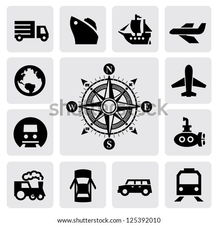 vector black compass and transport icons set on gray