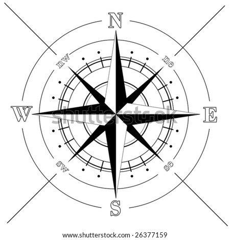Vector - Black compass rose  isolated on white