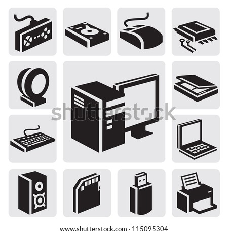vector black computer icon set on gray