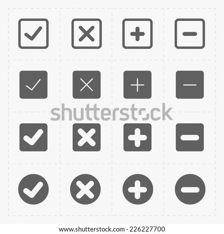 Vector black confirm icons set