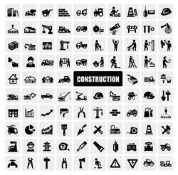 vector black construction icon set on gray