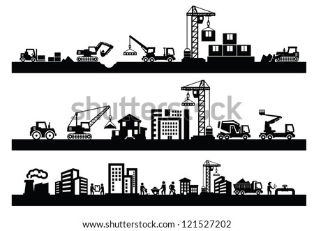 vector black construction icons set on gray