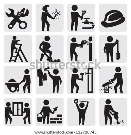 vector black construction people icon set on gray