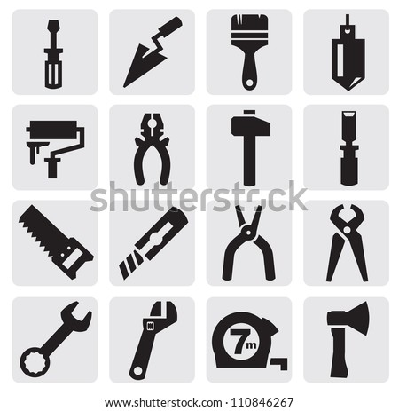 vector black construction tools icons set on gray