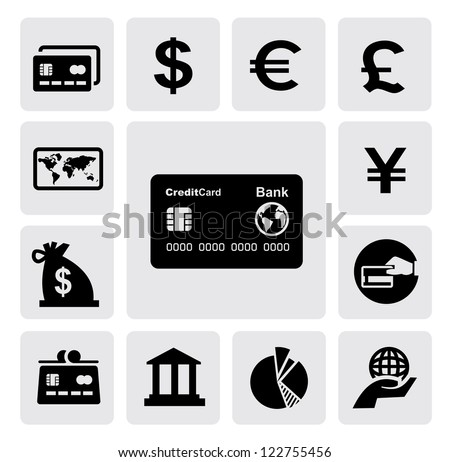 vector black credit card icons