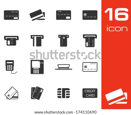 Vector black credit cart icons set on white background