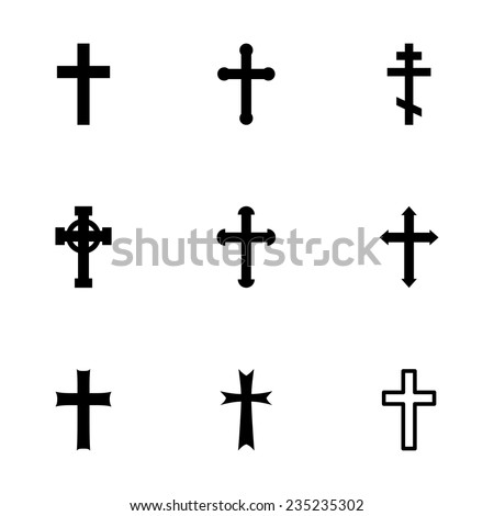 Vector black crosses icon set on white background