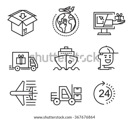 vector black delivery flat icons on white