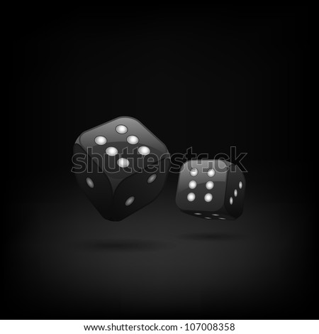 Vector black dices on the dark background