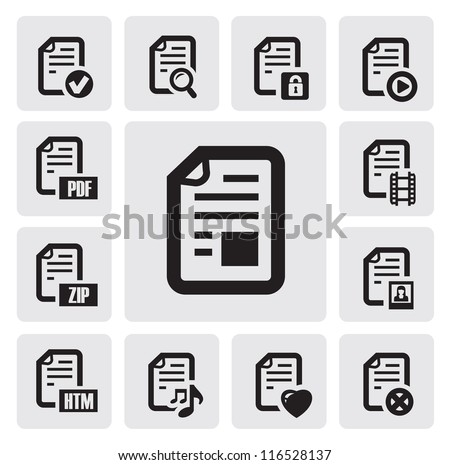 vector black documents icons set on gray