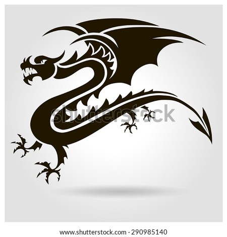 9704a283a2af0 Vector black dragon with wings on a gray background with shadow #290985140