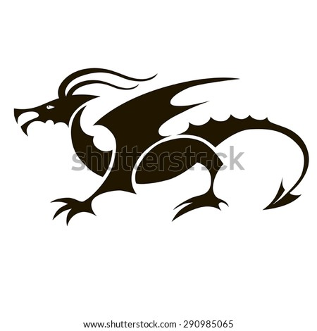 vector black dragon with wings