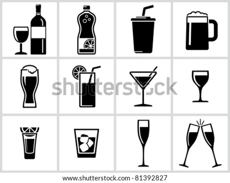 Vector black drinks & beverages icons set. All white areas are cut away from icons and black areas merged. - stock vector
