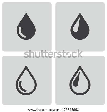 vector black drop icons set on