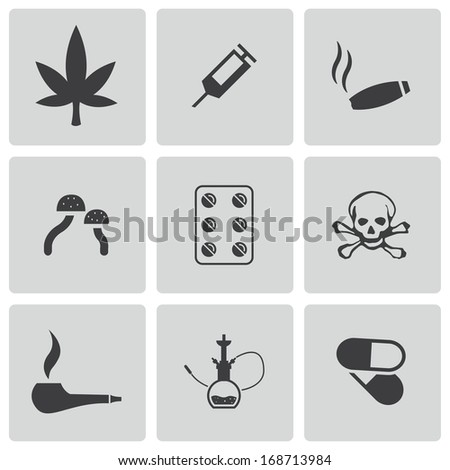 vector black drugs icons set on