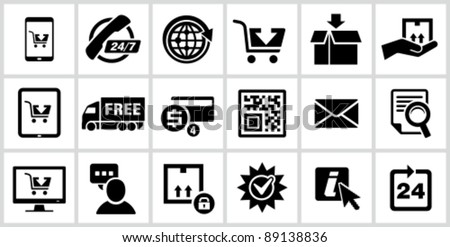 Vector black E-commerce icons set.