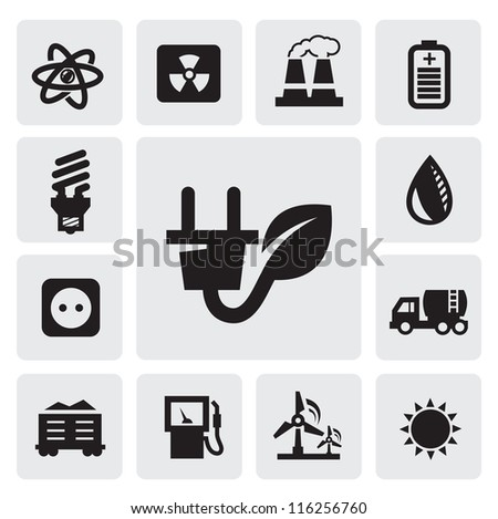 vector black eco energy icons set on gray