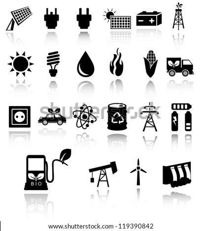 Vector black eco energy icons set on gray. Solar and wind energy. EPS10