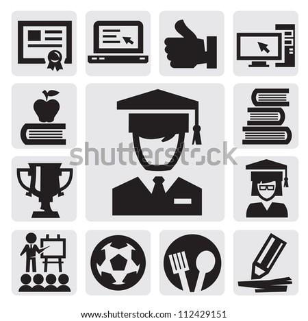 vector black education icon set on gray