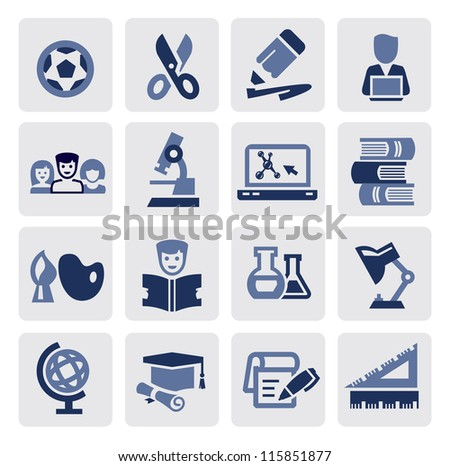 vector black education icons set on gray