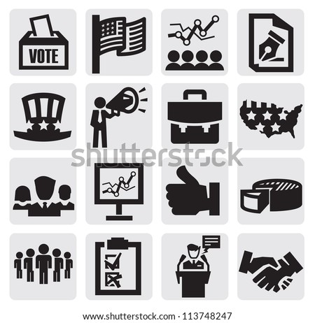 vector black election icons set on gray