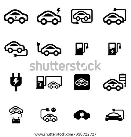vector black electric car icon