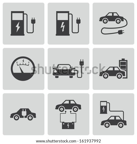 Vector black electric car icons set