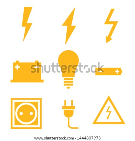 Vector black electricity icon set on white background