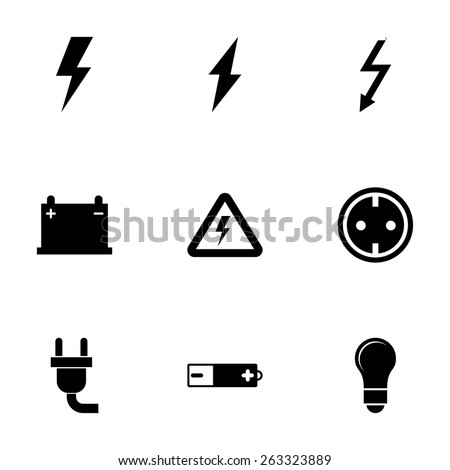 vector black electricity icon...