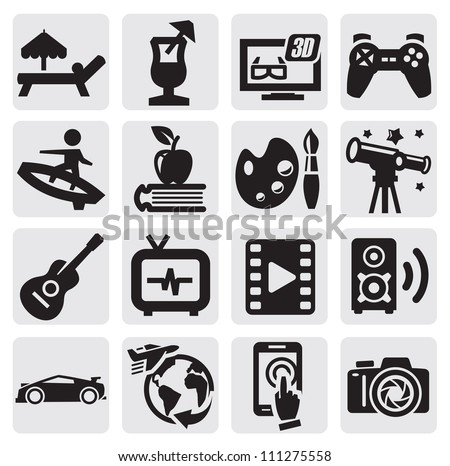 vector black entertainment icons set on gray
