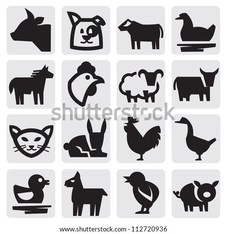 vector black farm animals icon set on gray