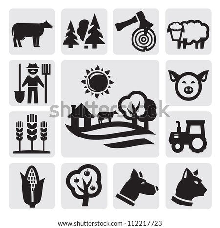 vector black farm icon set on gray