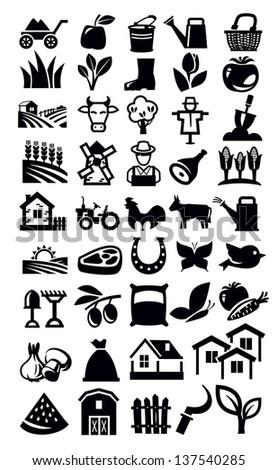 vector black farming icon set on white