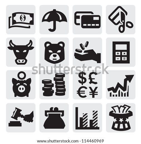 vector black financial icons set on gray