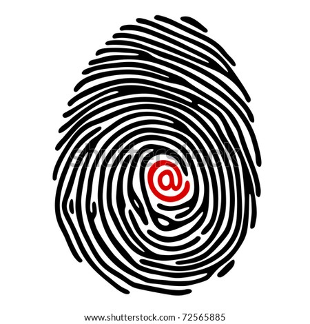 Vector black fingerprint with red e-mail sign