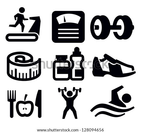 Vector Black Fitness And Sport Icon Set On White - 128094656 ...