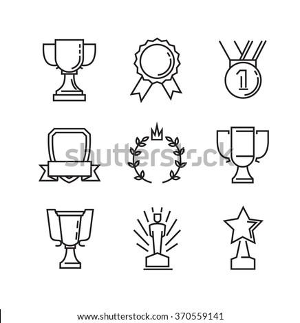 vector black flat award icons on white