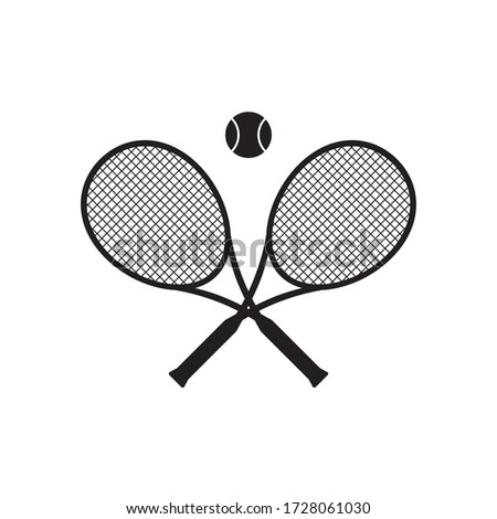 Vector black flat cartoon crossed tennis racket and ball isolated on white background Сток-фото ©