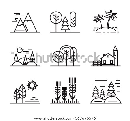 vector black flat nature icons